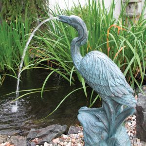 Bronze resin heron fountain from Aqua Doc